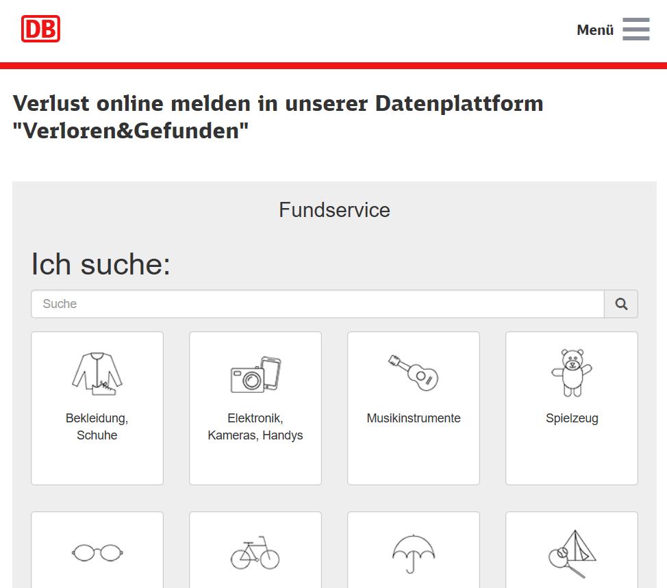 Suchmaske des Online-Fundservices