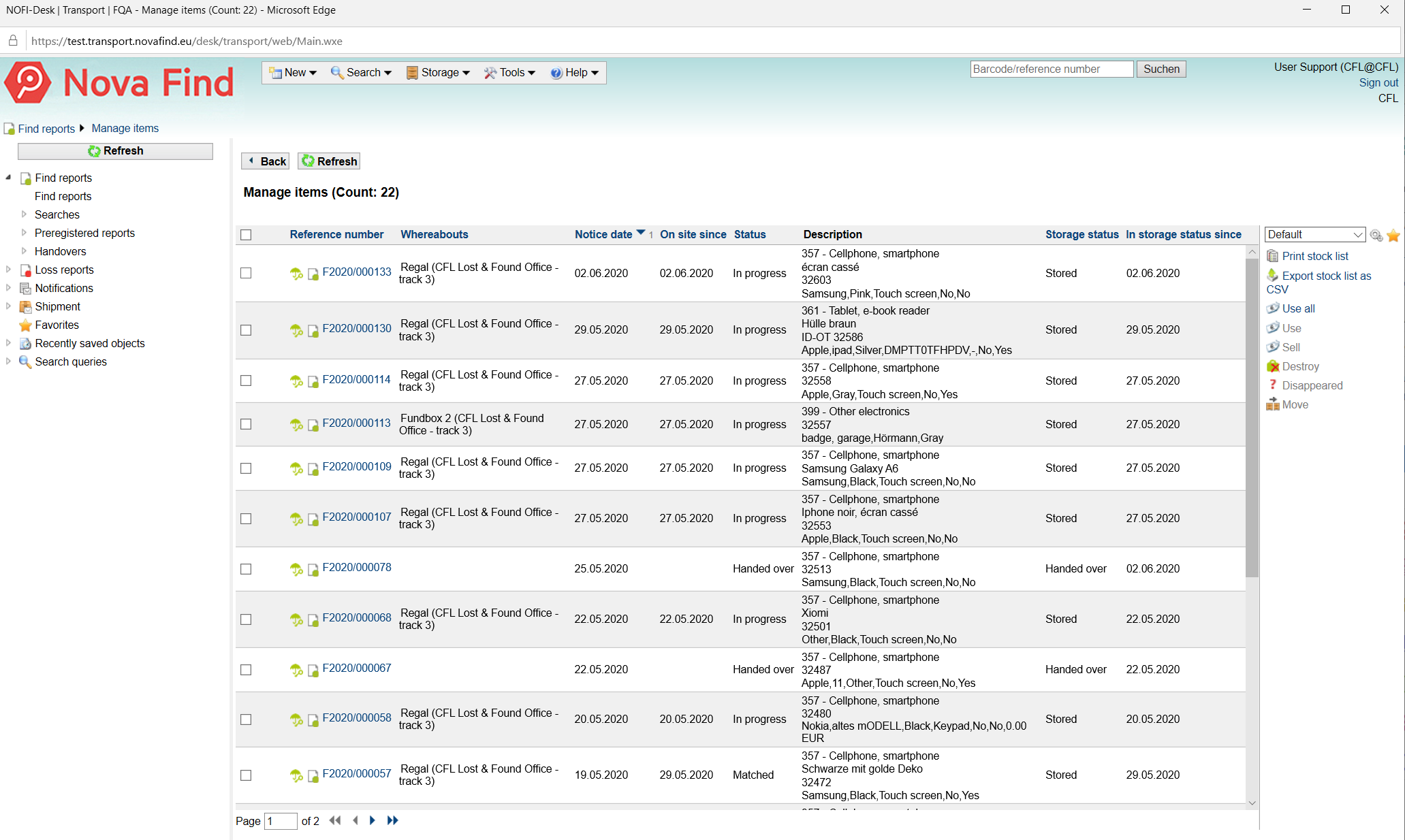Management of found objects in the Nova Find Backoffice